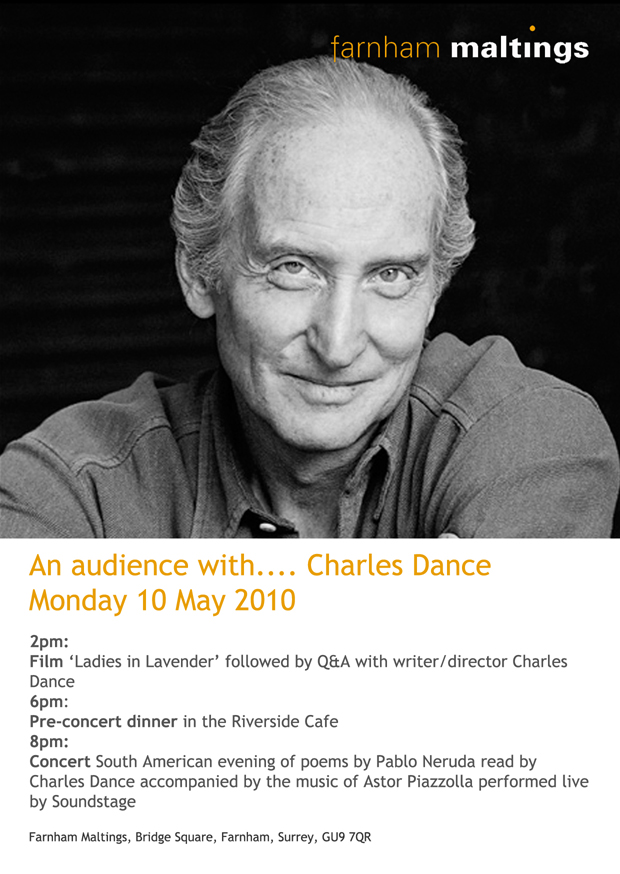 Charles Dance at Farnham Maltings front cover